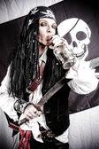 Grappige piraat met een fles — Stockfoto
