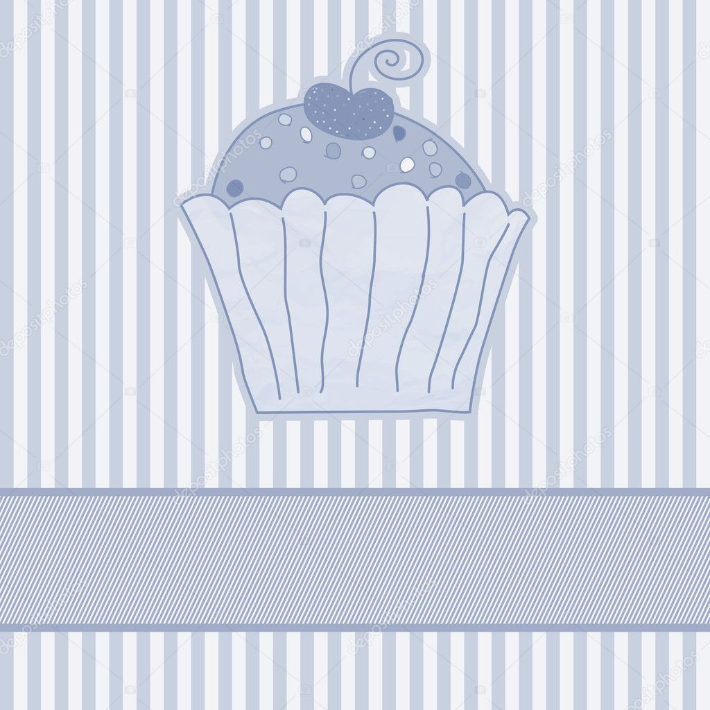 Retro card with cupcake. EPS 8 vector file included — Stock Vector #11301184