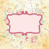 Vintage polka dot frame with rose flower. EPS 8 — Stock Vector