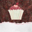 Royalty-Free Stock Vector Image: Cute retro Cupcake in frame. EPS 8