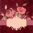 Postcard with roses and polka dot. EPS 8 — Stock vektor