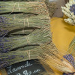 Bunches of lavender on a market stall, Provence — Стоковая фотография