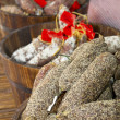 Pepper sausages ready for sale on the market. — Stockfoto