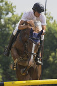 Equestrian rider jumps — Stock Photo