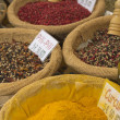 Various kinds of spices prepared to sell at a farmer's market. — Stock Photo