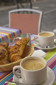 French breakfast with croissants, coffee and milk — Stock Photo