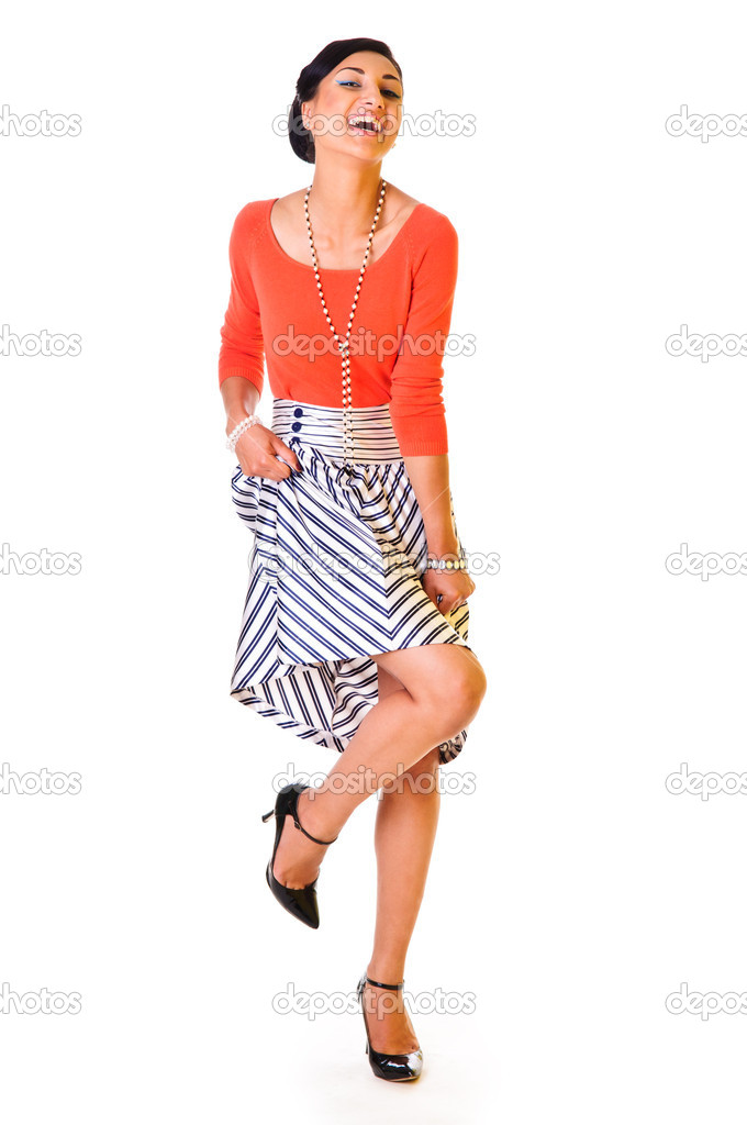 A young funny woman in a long skirt. style of the '60s. isolated on a white background — Stockfoto #10793570