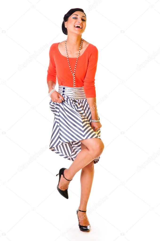 A young funny woman in a long skirt. style of the '60s. isolated on a white background — Zdjęcie stockowe #10793570