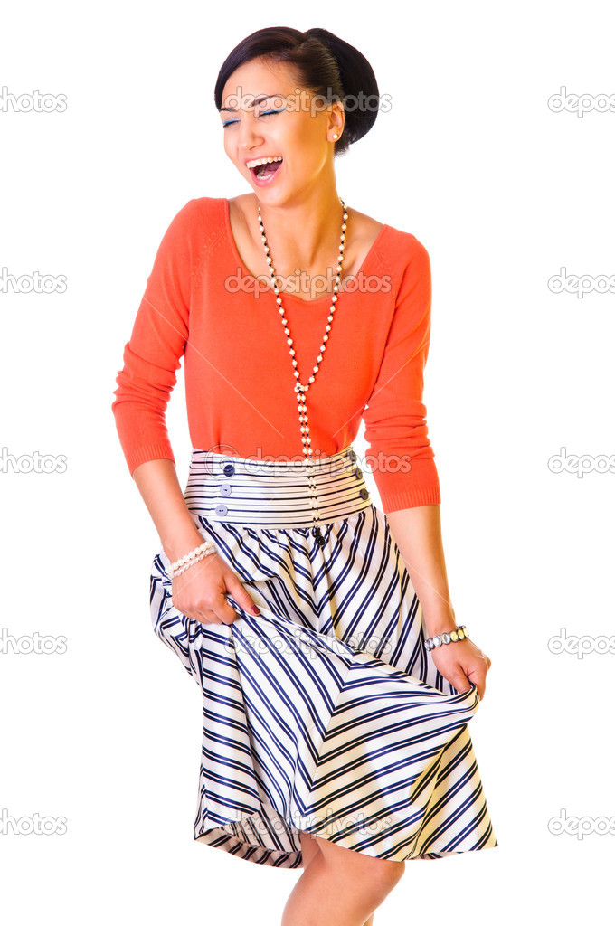 A young funny woman in a long skirt. style of the '60s. isolated on a white background — Stock Photo #10793578