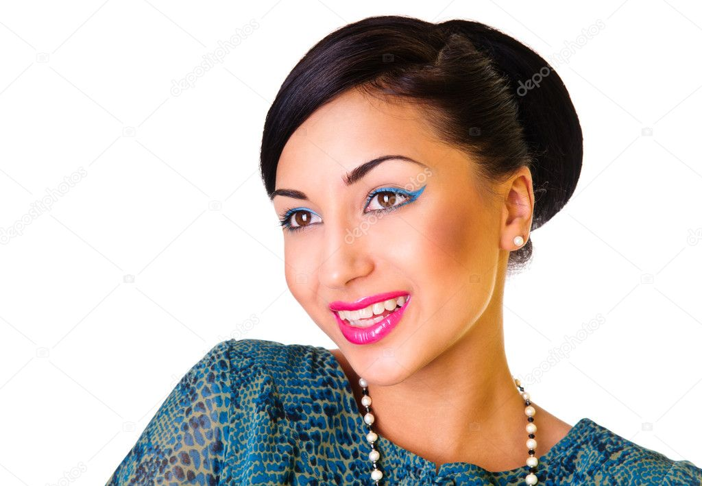 Young woman cheerfully and positively laughing. happy emotions. face close up. isolated on a white background — Stock Photo #11197017