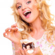 Stock Photo: Girl eating ice cream