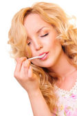 Woman enjoying a delicious meal — Stock Photo