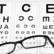 Royalty-Free Stock Photo: Reading eyeglasses and eye chart