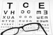 Gözlük ve göz grafik okuma — Stok fotoğraf