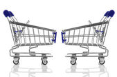 Two blue shopping cart isolated — Stock Photo