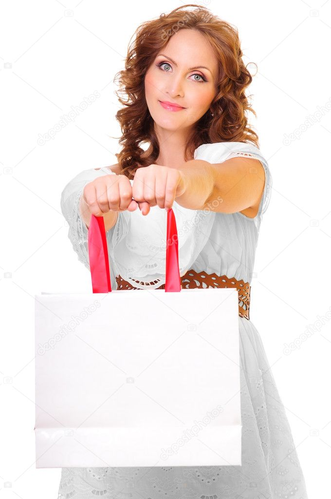 Portrait of young beautiful woman with shopping bag — Stock Photo #11936278