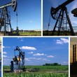 Oil Pump Jack and Refinery - Stock Photo
