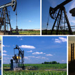 Stockfoto: Oil Pump Jack and Refinery