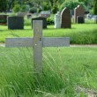 Wood Cross in cemetery — Stock Photo