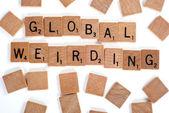 Palabras de alteración global con azulejos — Foto de Stock