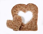 Whole wheat bread with heart — Photo