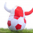 Soccer ball and Viking;s cap — Stock Photo