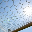 Close up football goal — Stock Photo