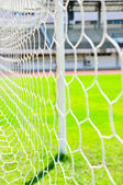 Close up football goal — Foto Stock