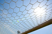 Close up football goal — Stok fotoğraf