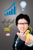 Businessman finger touch Factory logo — Stock Photo
