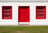 A Red Door and Two Red Window — Stock Photo