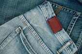 Pohled label prázdné kožené džíny — Stock fotografie