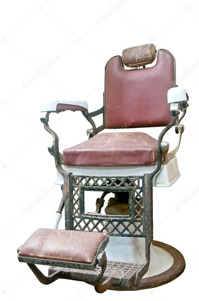 Barber Shop with Old Fashioned Chrome chair with clipping path  — Stock Photo #11513266
