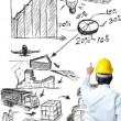 Engineer on point with sketch logistic idea — Stock Photo
