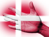 Cheering fan with Painting Denmark — Stock Photo