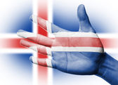 Cheering fan with Painting Iceland national flag — Stock Photo
