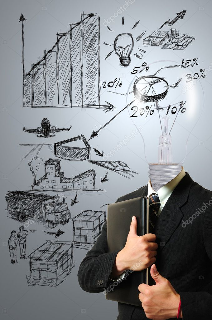 Lamp businessman with Logistic idea  — Stock Photo #11653646