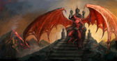 Devil on throne — Stock Photo