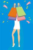 Woman shopping — Vetor de Stock