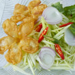 Stock Photo: Thai food, Fried Flowers with mango salad