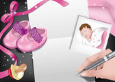 Birth announcement-girl — Vector de stock