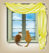 Cats looking out of window — Stock Vector