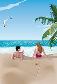 Couple on beach — Stock Vector