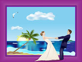 Dancing married couple on beach — Stock Vector