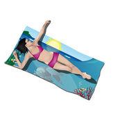 Dziewczyna, leżącego na ręcznik plażowy — Wektor stockowy