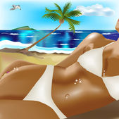 Tanned girl on beach — Stock Vector