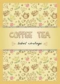 Vector coffee, tea background for your promotion. — ストックベクタ
