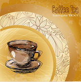 Cup coffee on background of the floral ornament — Cтоковый вектор