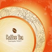 Coffee on background of the floral ornament — Cтоковый вектор