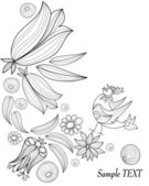 Hand Drawn floral background — Stock Vector